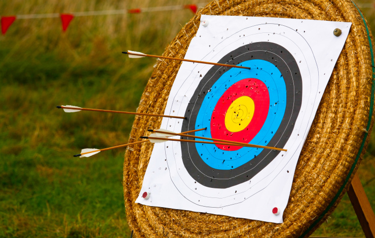 several bad shots on an archery target