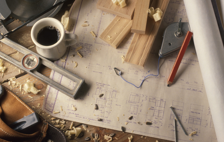 building materials and blueprints