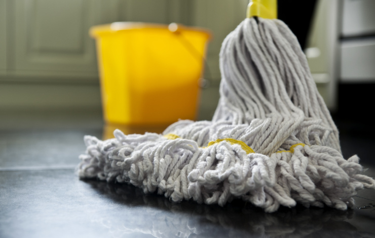 mop on kitchen floor