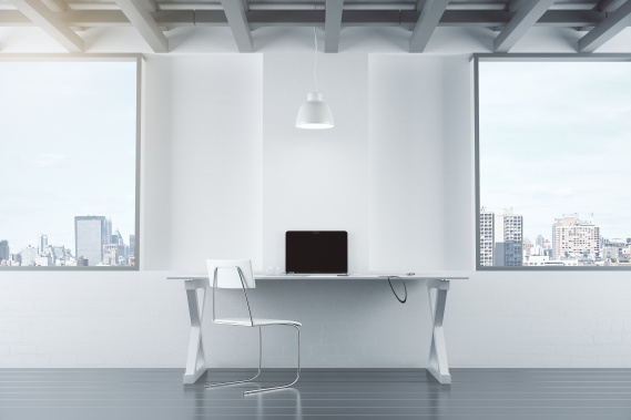 minimalist workspace in a large city