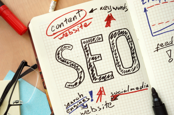 A notebook sketching out SEO strategy