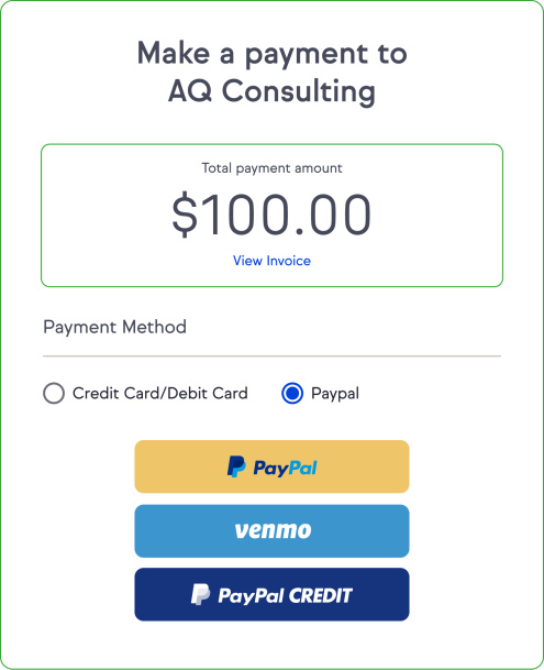 Your client can easily log a payment via PayPal, Venmo, or PayPal CREDIT.