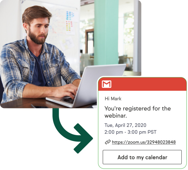 Your lead signing up for a webinar and receiving an appointment reminder email.