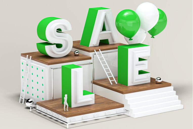Image of various platforms holding up letters that spell out Sale.