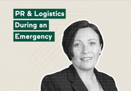 Image of a woman in a business jacket, with the text, PR & Logistics During an Emergency.