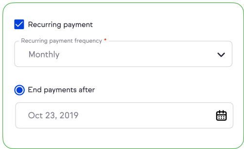 Illustration of setting up a recurring payment in Keap Pro