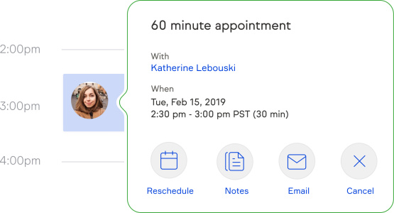 Screenshot of your calendar, showing the appointment automatically created