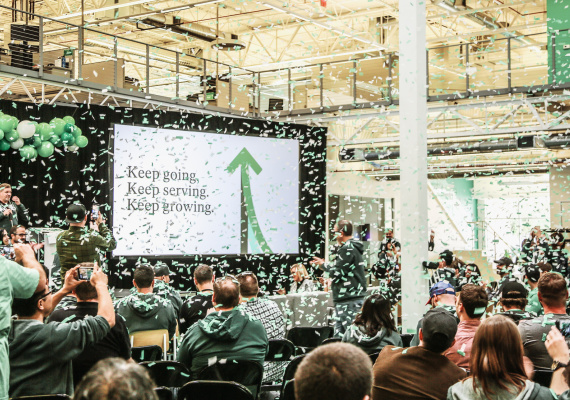 Image of the Keap brand launch day with confetti raining down on the crowd