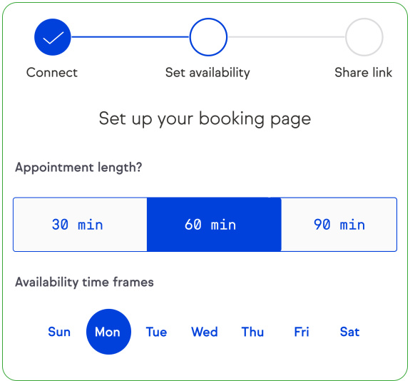 Screenshot of the software, creating a booking page