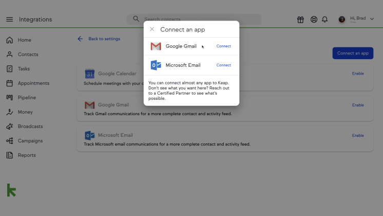 Keap Email Sync
