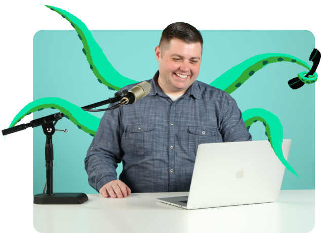 Webinar host with octopus arms to work on many things at once.