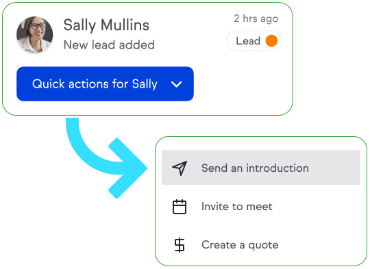 Quick action button on contact record to easily send follow up.