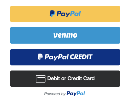 Payment buttons for PayPal, Venmo, PayPal CREDIT, and Debit or Credit. Powered by PayPal.