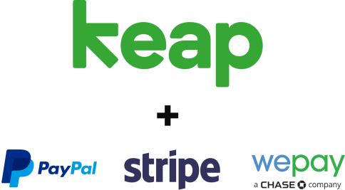 Keap + PayPal, Stripe, and Wepay logos.