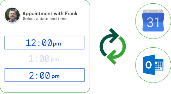 Screenshot of using the product to select an available time to create an appointment with your contact and then syncing automatically with Outlook and Gmail.