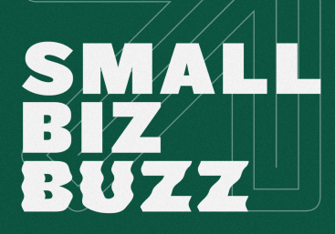Graphic of text that says, Small Biz Buzz.