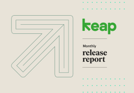 Graphic of the Keap arrow and logo, along with the text, Monthly release report.