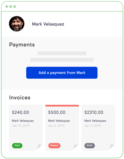 Graphic showing the payments section of a Keap contact record, with easy ability to mark new payments and see their invoices.