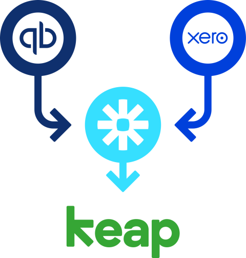 QuickBooks and Xero logo integrating with Keap logo via Zapier logo