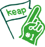 Icon of a large foam hand making the '#1' shape, with a flag reading 'Keap' in the background.