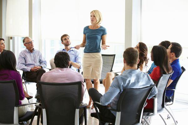 Team manager speaking during meeting