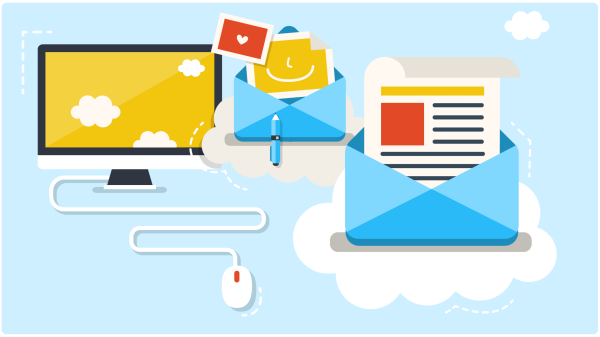 Illustration of email and laptop in the clouds