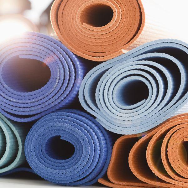 Close up of yoga mats