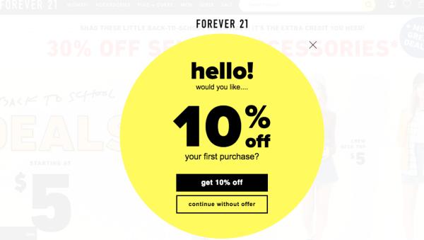 Forever 21 pop-up offering 10% off