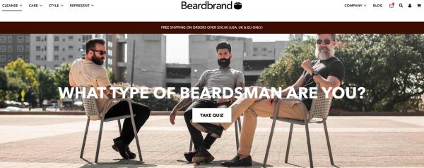 Beardbrand homepage with quiz pop-up