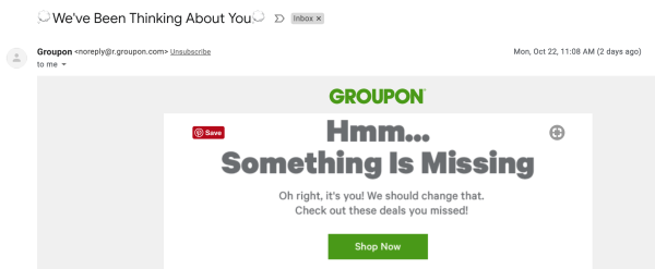 Groupon subject and opening line