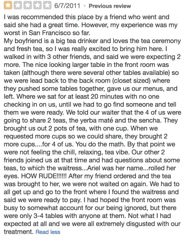 Samovar Tea Lounge negative review