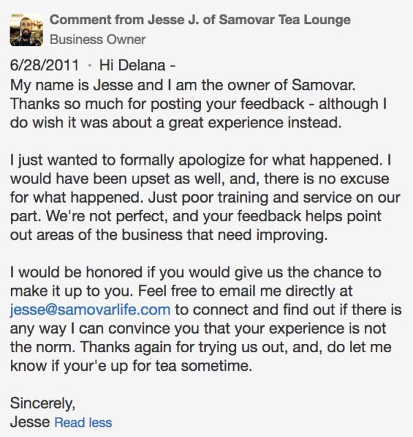 Samovar Tea Lounge owner response