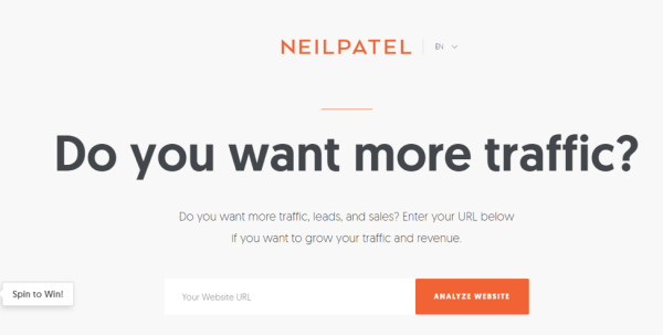 Neil Patel's landing page
