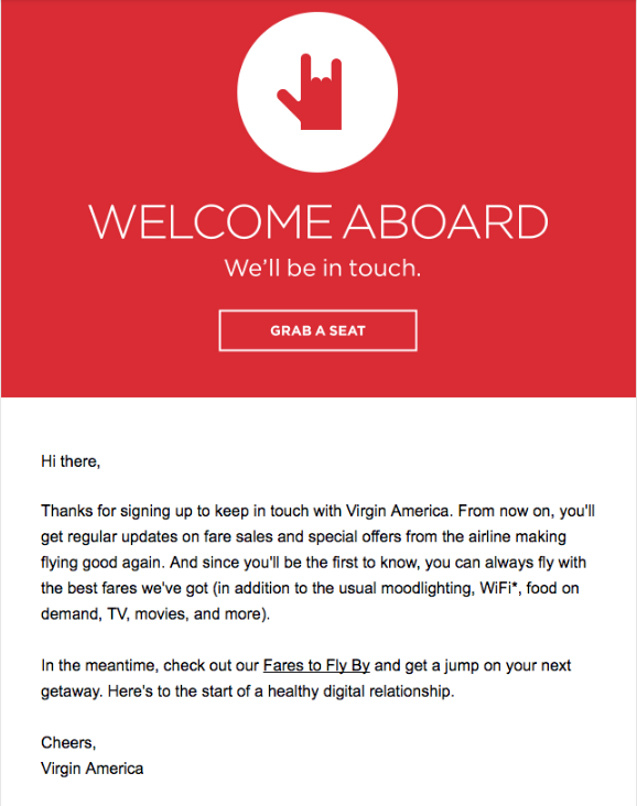 Virgin America welcome email best practices