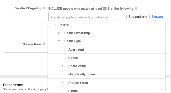 detailed targeting homeownership in facebook ads