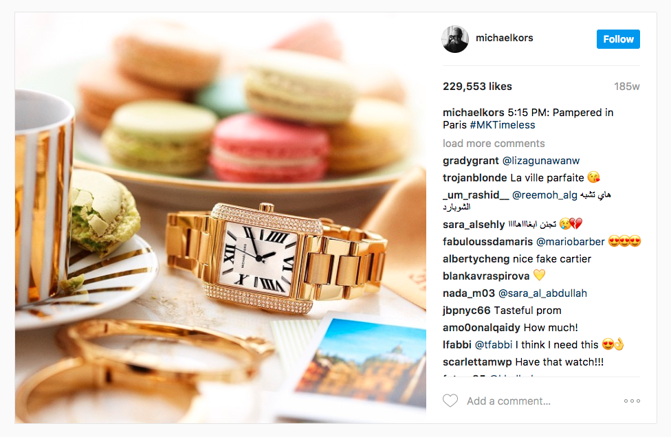 Michael Kors Instagram for business ad example