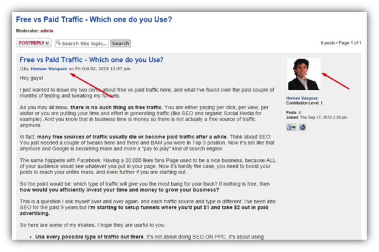 profile example of website traffic sources