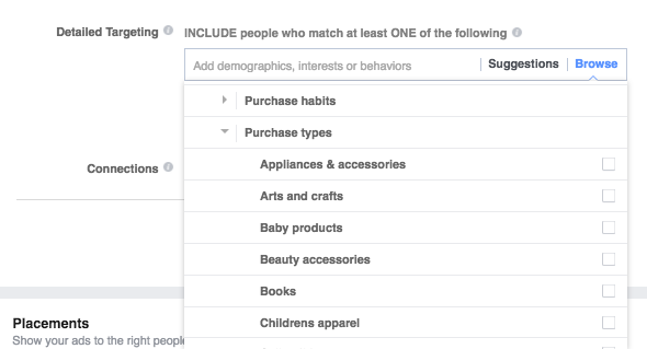 targeting purchasing details in facebook ads