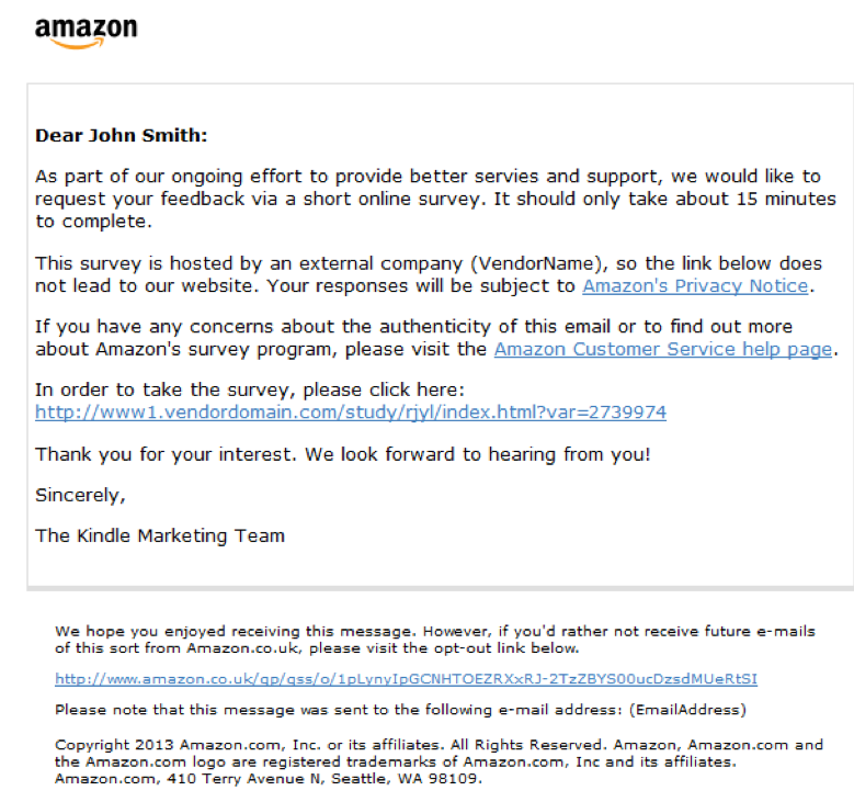 Amazon survey request letter